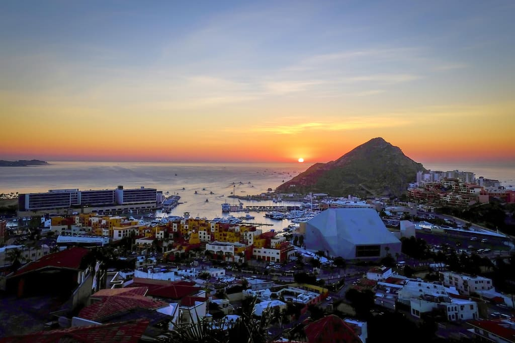 Sunset View of Marina and Downtown Cabo from Villa Joya de Law