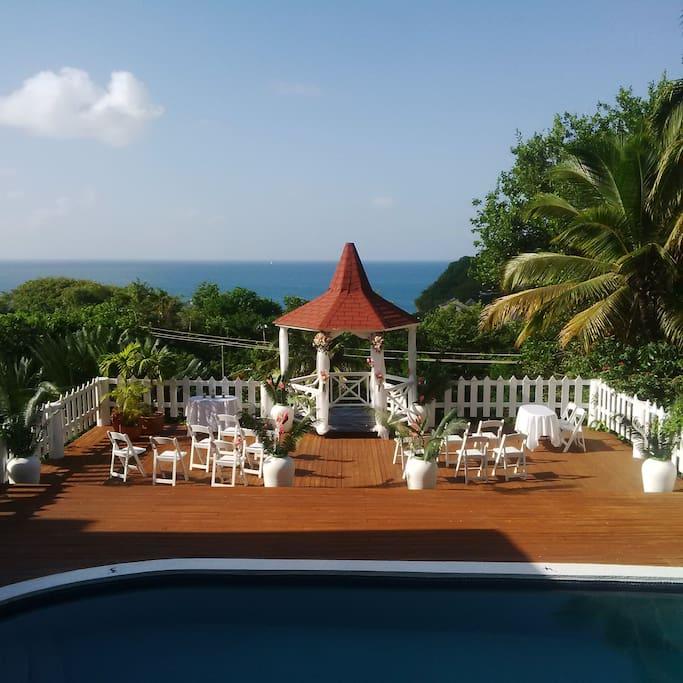 Set up for wedding at Villa Capri