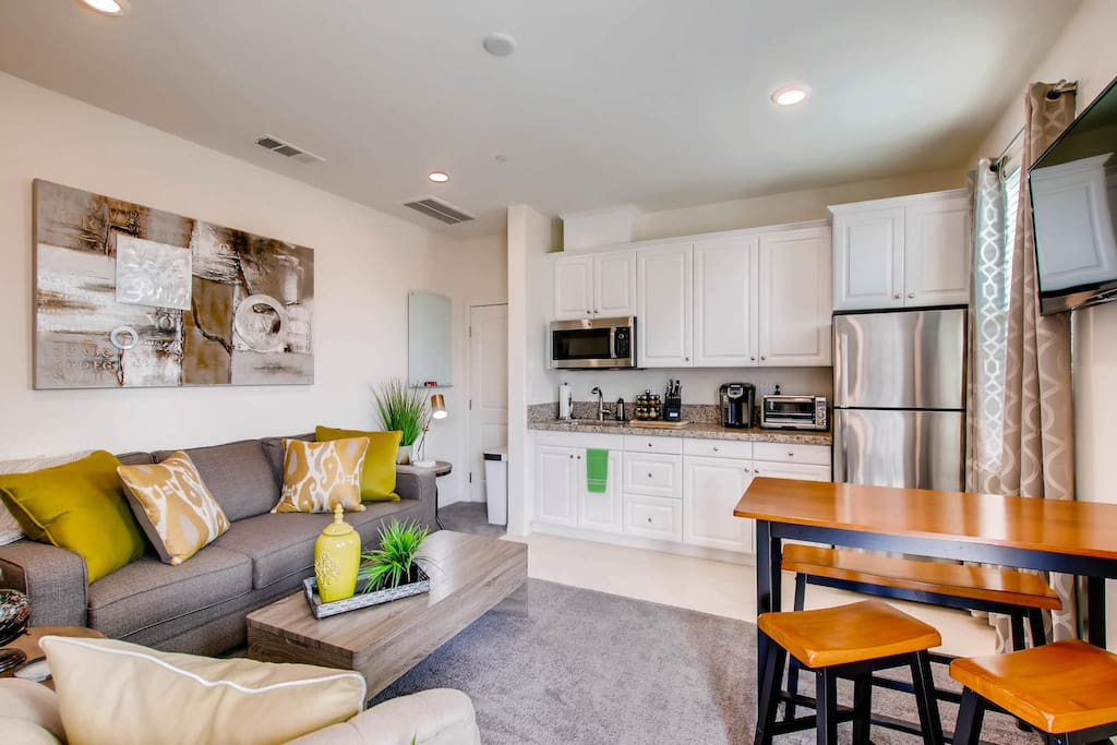 Kitchenette w/microwave, Keurig, Refrigerator, Toaster Oven, Hot Plate & variety of spices