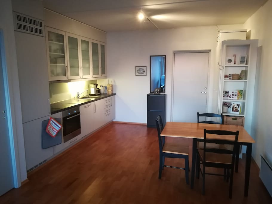 Entrance with a closet, and the kitchen area with a refrigerator, freezer, oven and equipment which allows you to make the food you want
