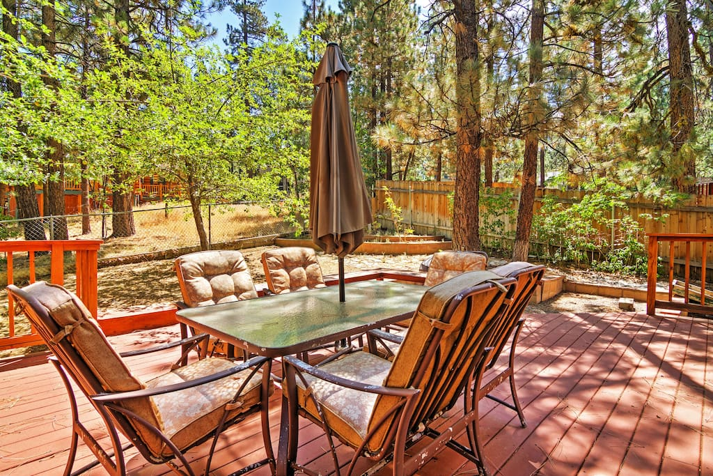 Take in the sights of the San Bernardino National Forest from the private patio!