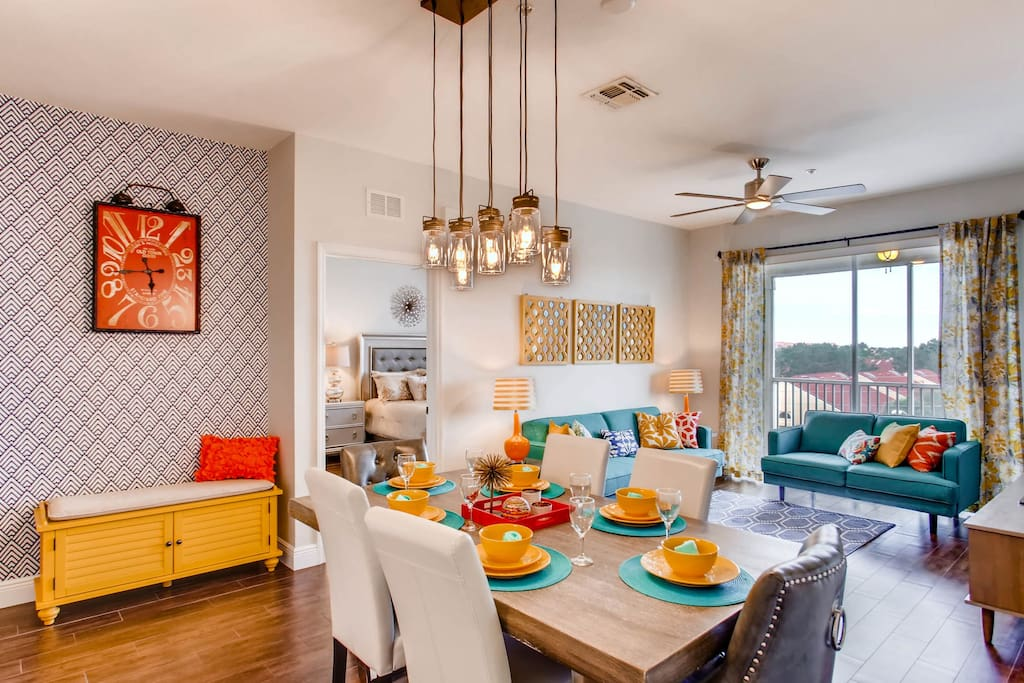 Spacious living and dining area with ample seating for the entire family