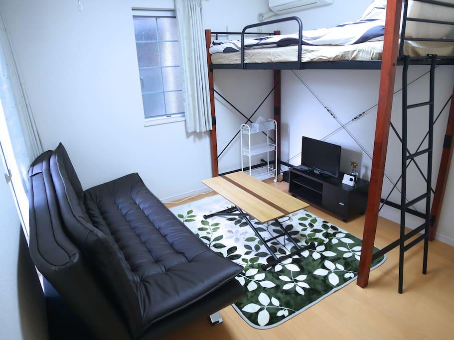 A sofa-bed as a sofa.