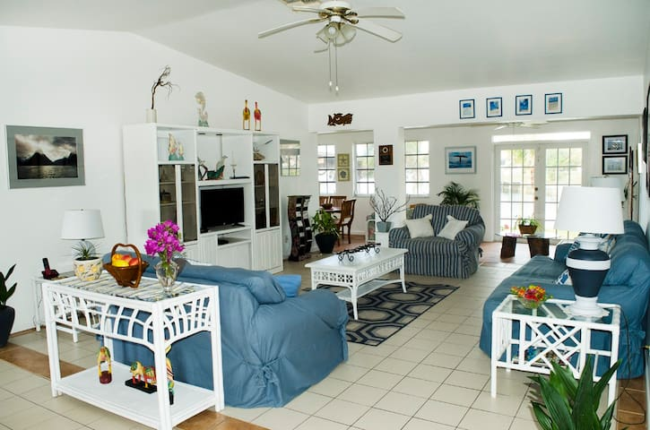 The living room is light and airy