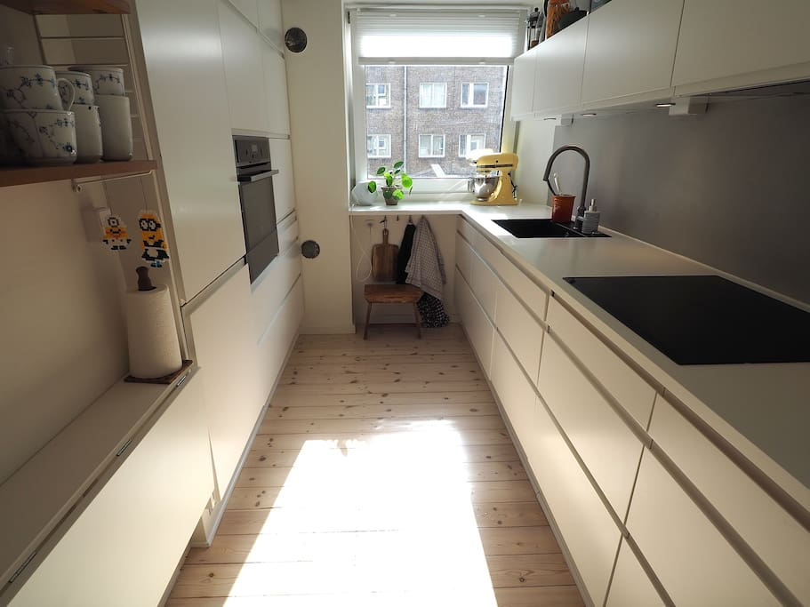 Well equipped kitchen (including: dishwasher, oven, induction hob, microwave oven and various kitchen utensils)