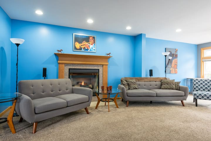 Rear living space-ample seating and easy to use gas fireplace