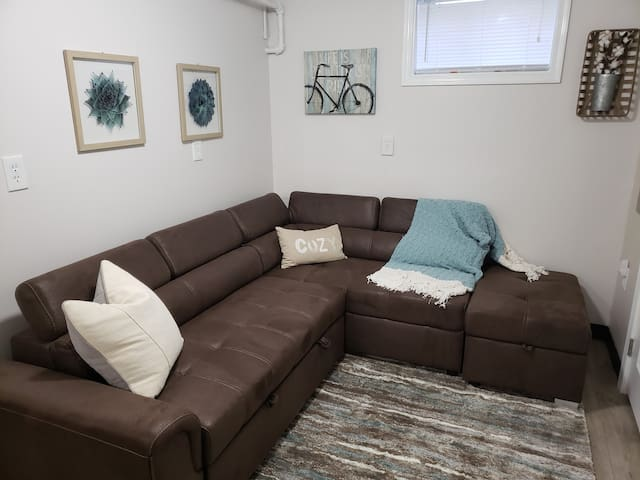 Lower level living area with pull out sofa  bed and 32 inch Smart TV