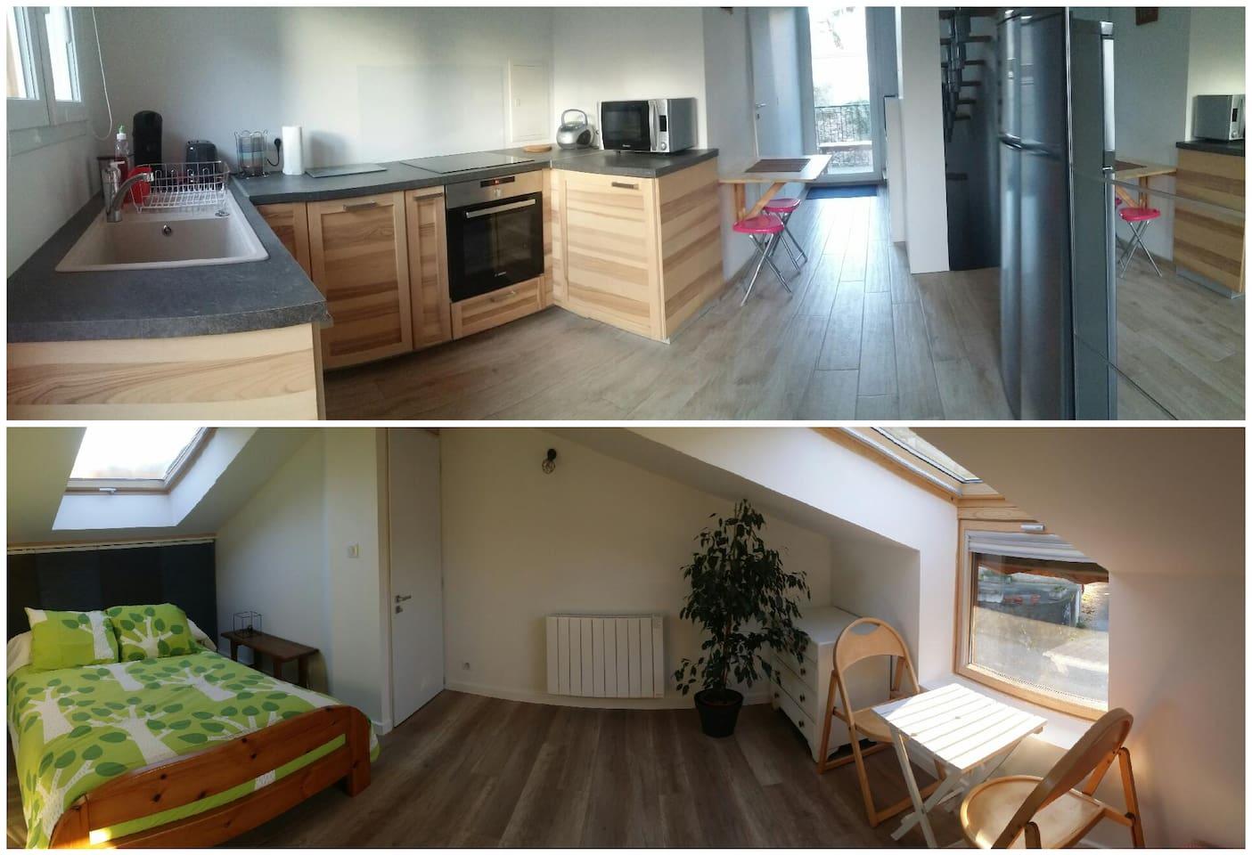 Vue panoramique de la cuisine et de la chambre