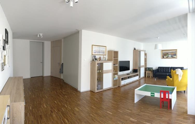 Family apartment with huge space, light and park!