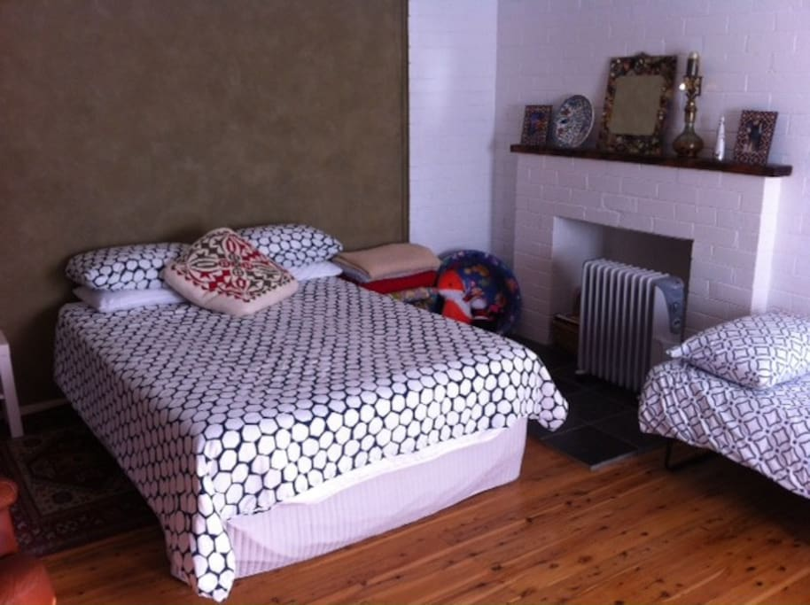 Double bed and oil heater for winter nights.