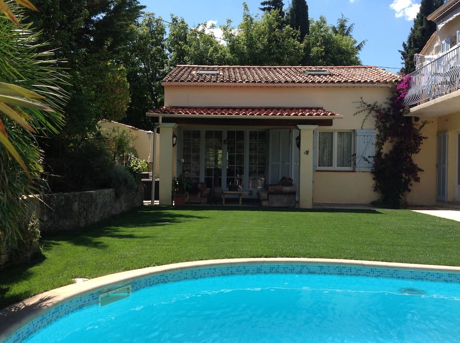A beautiful cottage for your accommodation with French doors onto a terrace and garden with pool