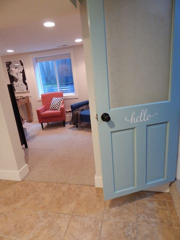 Entry to guest suite...all spaces inside (3 rooms and a bathroom) are for private guest use.