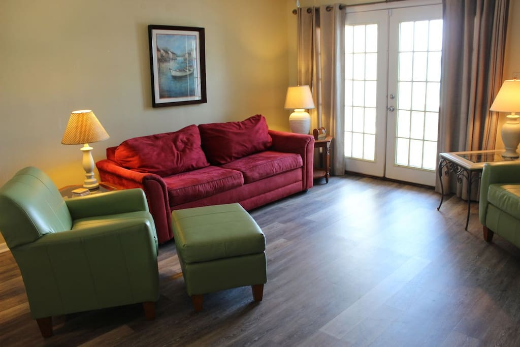 The sleeper sofa offers additional sleeping room for large families.