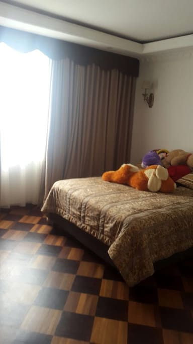 lots of light in the bedroom, TV and Desk provided also.. nice views of baseball fields and the hustle and bustle.