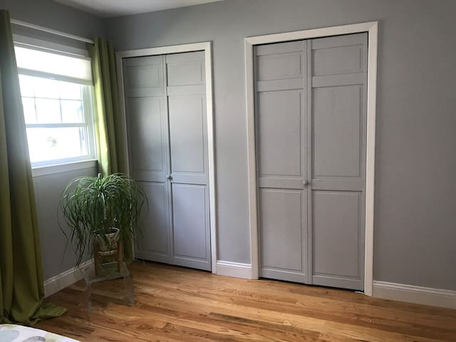 Right side closet was prepared for guests to use.