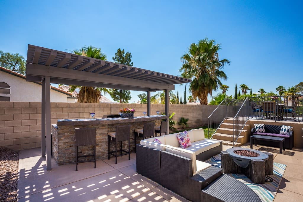 Outdoor Grill/ Fire pit and seating areas
