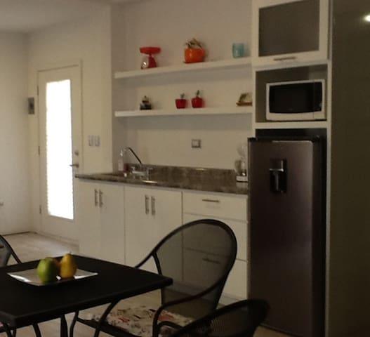 Refrigerador mediano, microondas, cafetera, platos, vasos, tazas,  cubiertos, utensilios básicos de cocina. Cuenta con kit de café y dos botellitas de agua purificada.