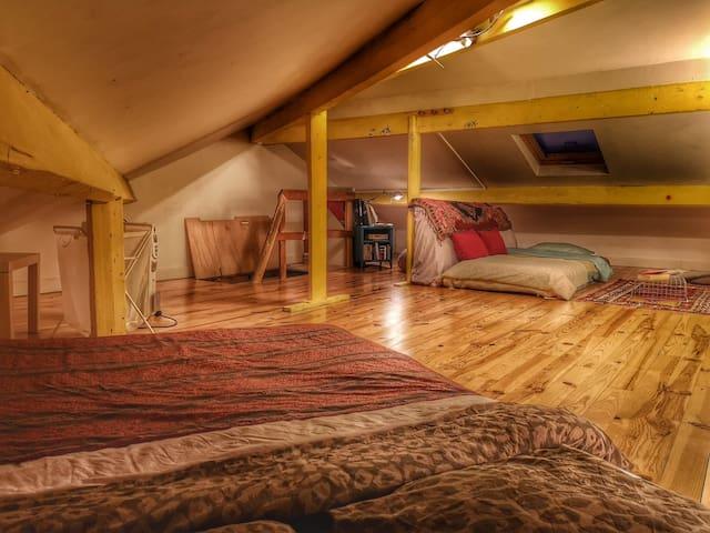 Grande chambre privée sous les toits Parisien