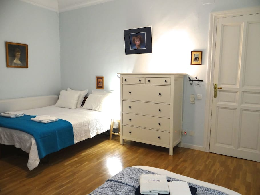 The 1st bedroom (large 26 sqm) for up to 3 guests (can be double bed and single, or 3 single beds)
