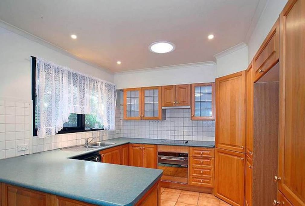 Nice kitchen To Cook in with Microwave and Dishwasher kettle toaster etc and Cooking Utensils