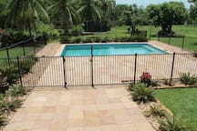 Fully fenced saltwater pool