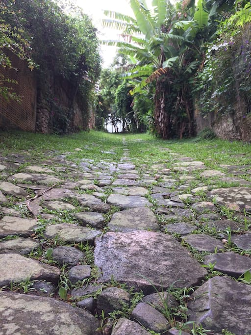 Cobble-stone historical path that coasts the house