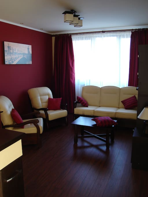 Nice living area, looking to a big flat TV. Note: if more than 2 guests, this area will be arranged as a sleeping area with beds.