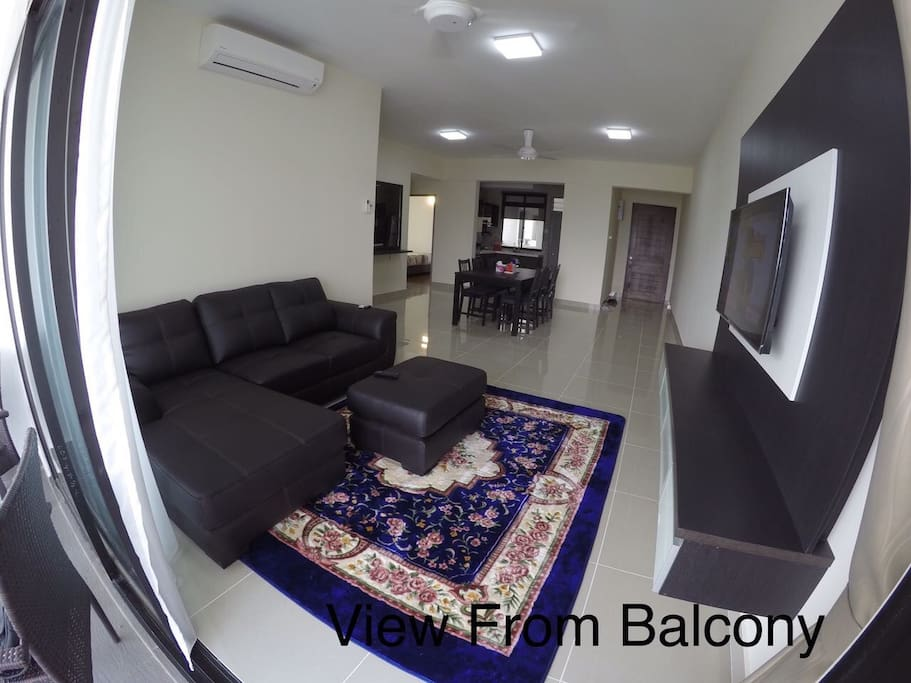 Living room with L-shape chair and Cable TV