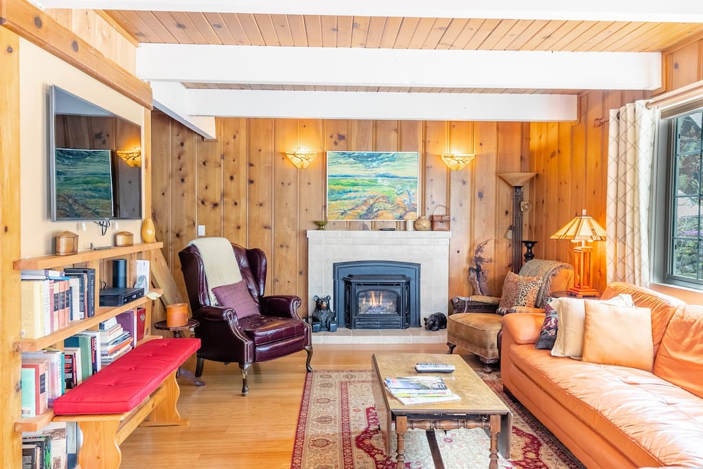 "Living room Fireplace, on remote controlled thermostat, keeps the entire house warm and toasty while providing that ""mountain cabin"" atmosphere. Separate electric heaters provided in each closet if you prefer to close up interior doors at night ."
