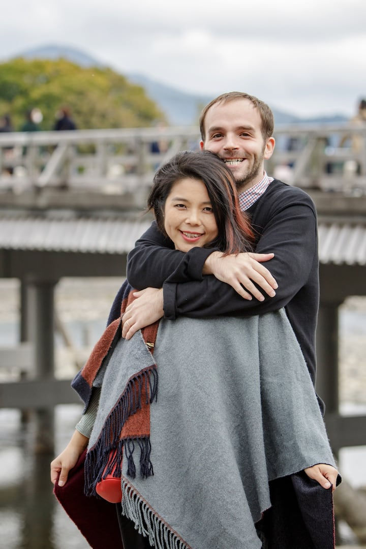 Couple photo in front of Katzura river