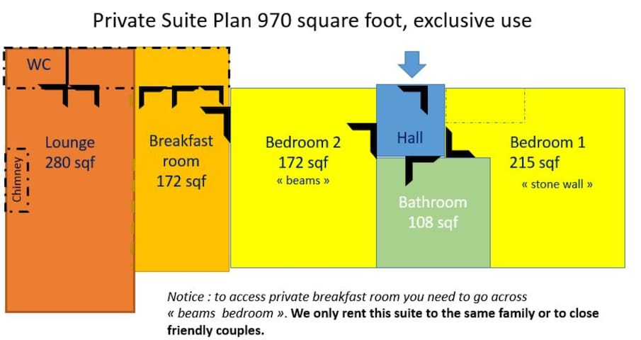 Plan of the guest's private rooms
