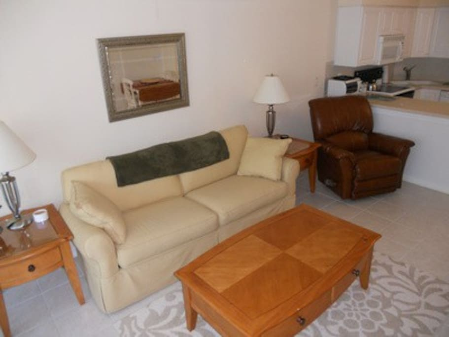 living room w/queen sleeper/sofa which sleeps 2