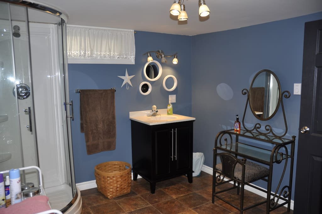 Bathroom with makeup desk