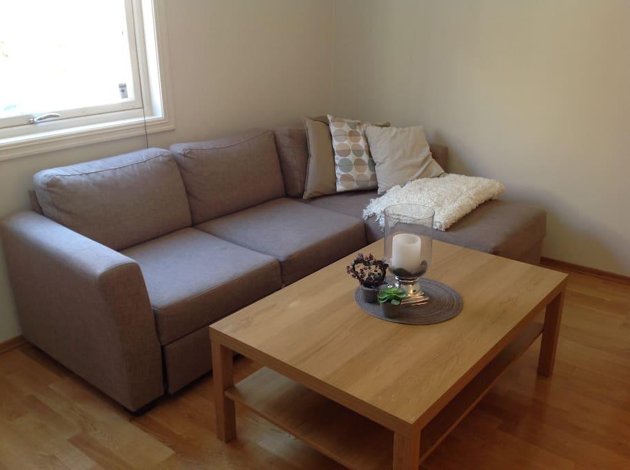 Sofa og stue bord.