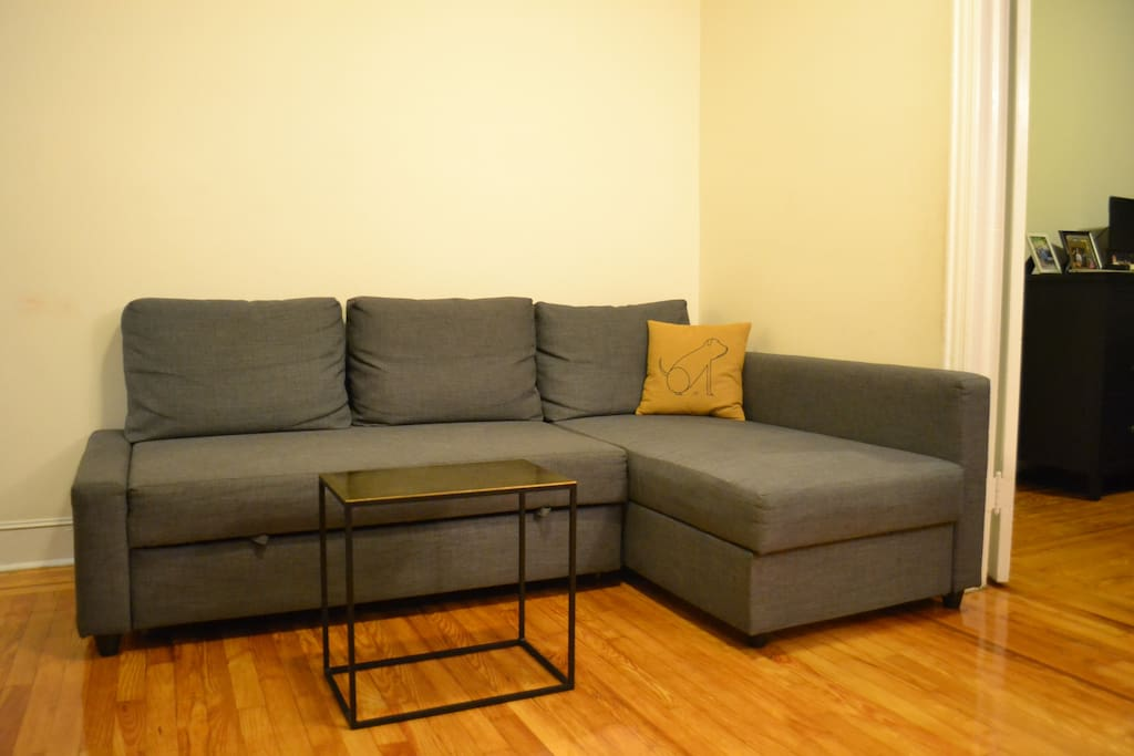 Pull out couch in living room.