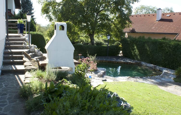 Garten mit Griller und Schwimmteich