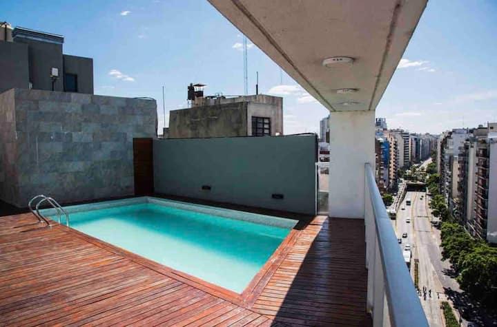 Apartamento palermo 4 pers c/cochera,piscina,bici
