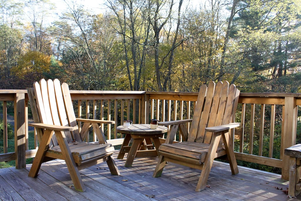Deck  with plenty of sun and room for dining, relaxing, or yoga