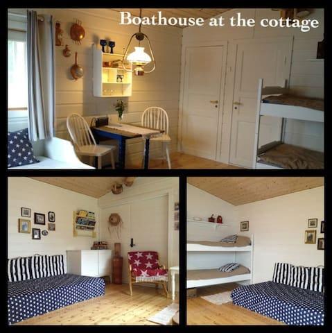 The guesthouse/ boathouse has a bedroom with a queen bed (not on the photo) and can house 6 persons in total.