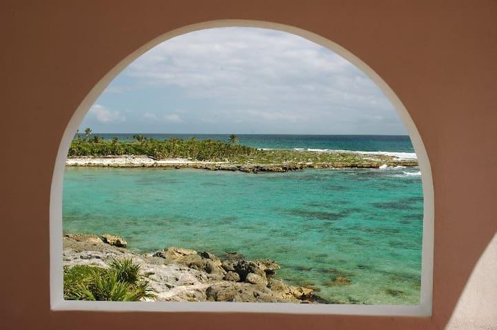 Yalku Lagoon and the Caribbean in front of Casa Bella. Akumal