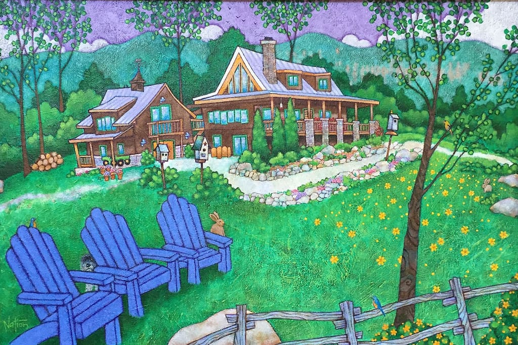 The Dancing Bear Lodge painted by our friend and award winning artist, Tate Nation.