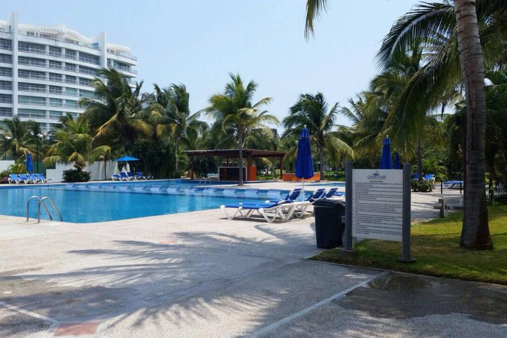 Alberca del Club con su bar dentro de la piscina. Apartment pool with the bar inside the pool.