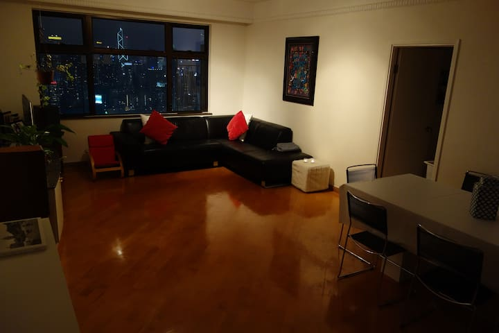 very spacious living room and dining room with view, sun and enough space to relax