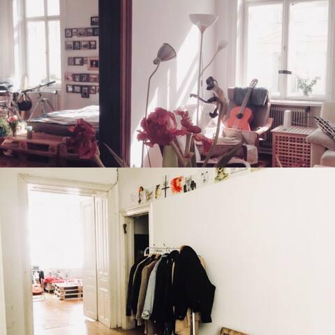 oben: Türe zwischen deinem Zimmer und Wohnzimmer unten: Flur und Blick ins Wohnzimmer