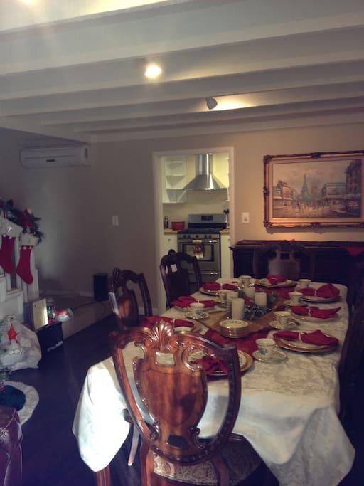 Elegant dining/living room.