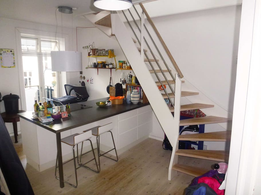 Kitchen + Staircase to living room