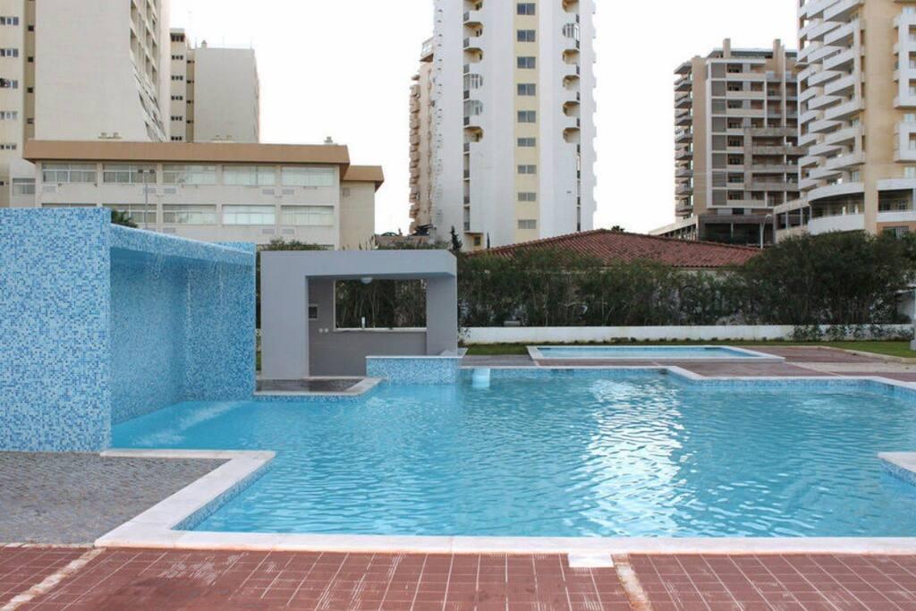 Big adult's pool, children's pool, water cascade