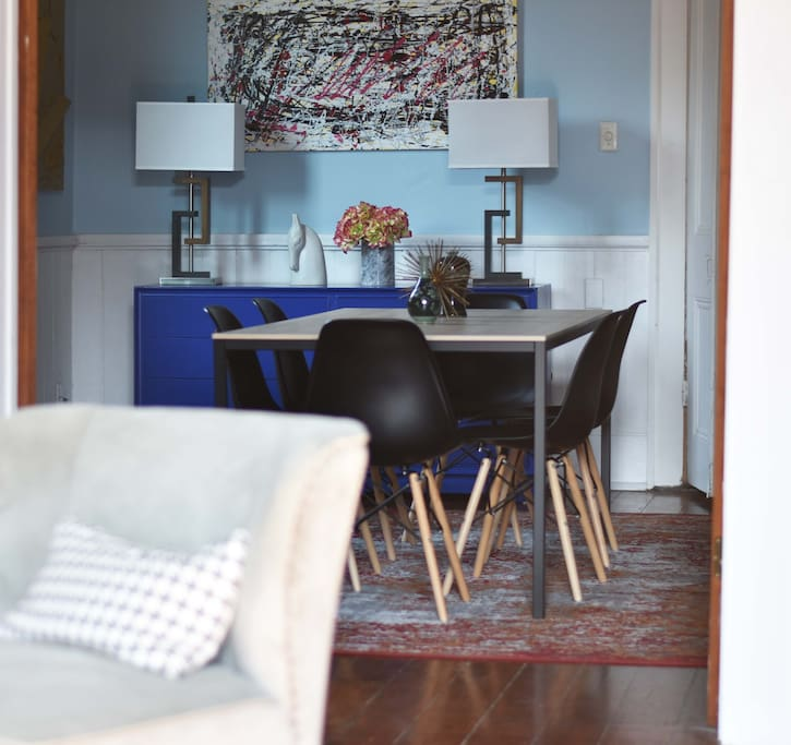 Mid-century modern inspired dining room.