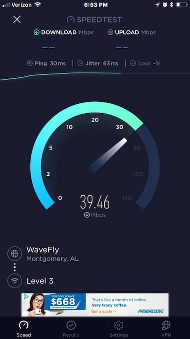 WiFi download speed