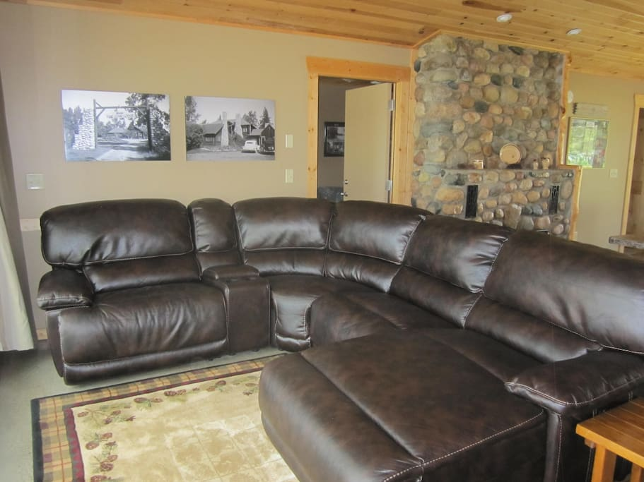 Large leather sectional has views of the lake